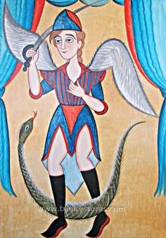 """St. Michael Archangel   Catholic Christian Religious Art - Retablos by Br. Arturo Olivas, OFS - From your Trinity Stores crew, """"St. Michael pray for us!"""" Unclean Spirits, Native American Ancestry, Seraphin, Pueblo Indians, Tribe Of Judah, New Mexican, World Of Darkness, Light Of The World, Catholic Saints"""