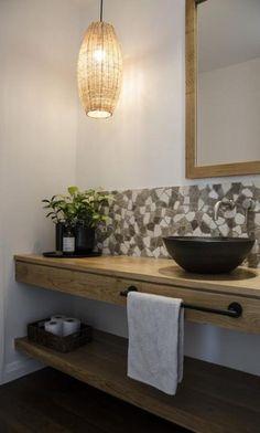 Bathroom vanities 310115124340782567 - vessel basin, mosaic tiles, floating vanity unit Source by KiwCan
