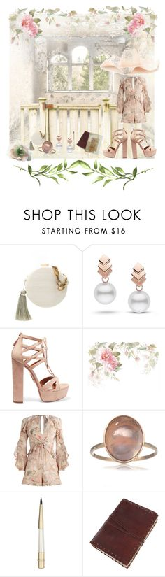 """""""Feeling vintage"""" by ccm-couture ❤ liked on Polyvore featuring Serpui, Escalier, Aquazzura, Zimmermann, Stila, Rosie Assoulin, vintage, Summer, shade and feelingvintage"""