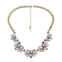 """Clo Clo London - Paislee. Stunning statement necklace with floral-themed design Sparkling rhinestones of different size Length: 46cm (18.1"""") - 54cm (21.3"""")"""