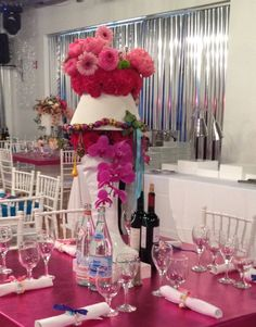 Coral peonies in pink go go boots a great bat mitzvah centerpiece