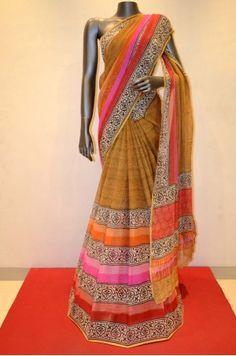 Fancy Light Brown Pure Silk Chiffon Saree Product Code: SSJG01289
