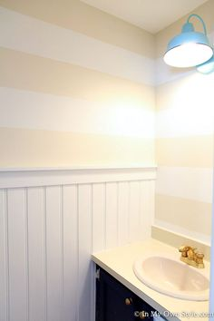 Adding Horizontal Wall Stripes to the Powder Room I added the wide bead board to the focal wall and Painting Horizontal Stripes, Wall Stripes, Bathroom Furniture, Bathroom Interior, Wainscoting Bathroom, Wainscoting Panels, Wainscoting Ideas, Downstairs Bathroom, Bead Board Walls