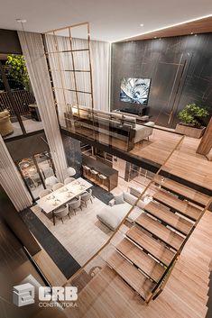 O Duplex de 256m² é uma cobertura luxuosa exclusiva no Áureo Portal da Colina, em Sorocaba (SP). Conta com pé-direito duplo, muita iluminação natural e um terraço primoroso.  Italian Furniture Brands, Suites, New Homes, Patio, Portal, Ruan, Blessing Bags, Outdoor Decor, Outdoor Kitchens