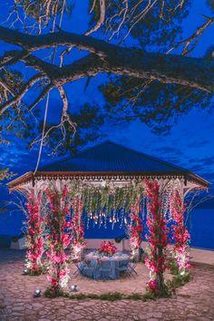 We just can't get enough of this bridal table!CO, George Pahountis Photographer, Petridis Floral Creations, Panagiotis Kastanidis. Destination Wedding, Wedding Venues, Fairy Lights Wedding, Floral Wedding Decorations, Outdoor Wedding Inspiration, Bridal Table, Elegant Wedding, Gazebo, Patio