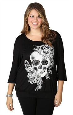 Plus Size Top with Three Quarter Sleeves, Slash Back and Skull Screen