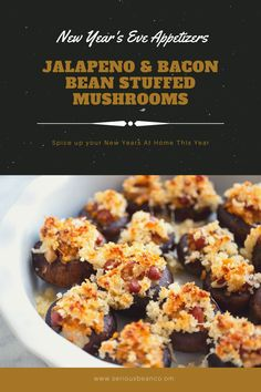 Fill up on some delicious New Year's Eve appetizers while you wait for the ball to drop. These stuffed mushrooms are packed with deliciousness like meaty bacon, mild jalapeño, and a buttery panko topping. Baked Beans With Bacon, Stuffed Jalapenos With Bacon, Stuffed Mushroom Caps, Stuffed Mushrooms, New Year's Eve Appetizers, Bread Crumbs, Stick Of Butter, Spice Things Up