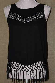 SHIRT! Monteau Size Small Black with Crochet Details Poly STUNNING #Monteau #Blouse