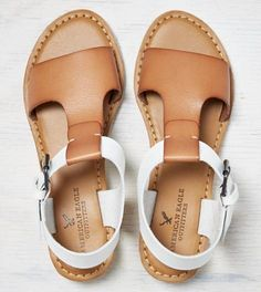Natural AEO T-Strap Mini Wedge Sandal
