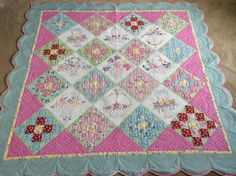 Embroidered bed quilt/pink green bed by SimplyQuiltingbyBarb