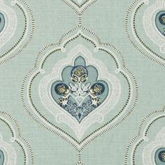 """""""Jumana"""" in sea green by Tilton Fenwick for Duralee. New+Next: Color—Mint, April Ikat Fabric, Drapery Fabric, Green Fabric, Floral Fabric, Fabric Decor, Fabric Design, Chair Fabric, Curtains, Curtain Patterns"""