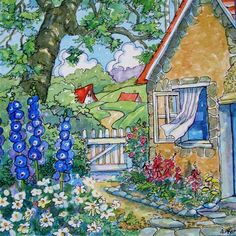 """Down the Neighborly Way Storybook Cottage Series"" - Original Fine Art for Sale - © Alida Akers"
