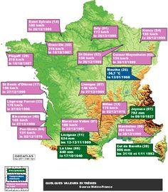 La carte de France des records climatiques... Et après on dit que c'est en Bretagne qu'il pleut !!!