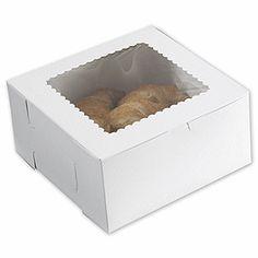 """White Windowed Bakery Boxes, 10 x 10 x 5"""""""