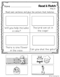 Read & Match- reading simple sentences with CVCe words