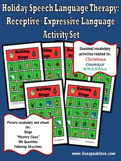 Holiday Speech Language Therapy: Receptive-Expressive Language Activity set - from Lisa Geary Speech Activities, Speech Therapy Activities, Language Activities, Speech Language Pathology, Speech And Language, Language Arts, For Elise, Receptive Language, Therapy Ideas