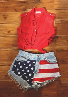 #outfits #style #cute #americanflag #cute #stars #stripes #denimshorts #shorts #denim #tops #fashion #4thofJuly