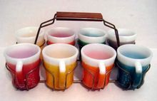 8 Fire King Glamalite Mugs with Rack - 10% OFF Everything in APRIL!!