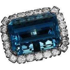 Amazing 20 carat (apx.) Aquamarine & Diamond Ring - DeMesy Fine Watches & Jewelry found on Polyvore
