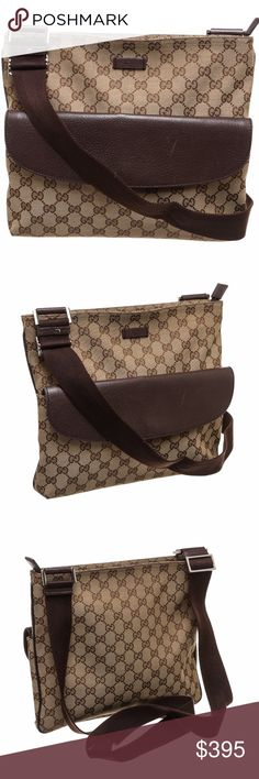 Gucci Beige Canvas Brown Leather Crossbody Bag Overall zipper closure. Interior contains side zipper and two side slip pockets.   Exterior flap push button pocket.  Adjustable strap. Shop AUTHENTIC Gucci handbags at MARQUE SUPPLY COMPANY.   348 QC Gucci Bags Crossbody Bags