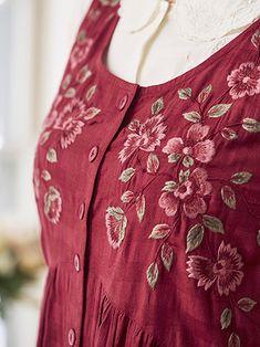 Pinafore Dress, Seersucker, Brooch, Embroidery, Dresses, Fashion, Apron, Vestidos, Moda