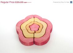 ON SALE Wooden Flower Stacker Puzzle Toy by LittleWoodlanders, £20.00
