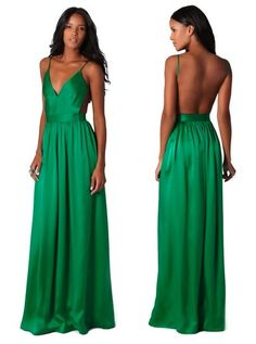 For my fashion forward friends, a fierce bridesmaid dress. A long silk dress with a deep V-neck and open back.
