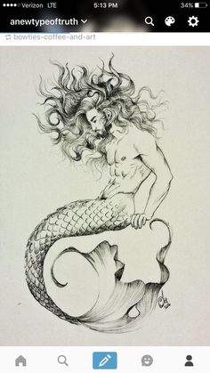 drawings mermaid Merman Tattoo, a little thicker tail and he would match my mermaid perfect! Merman Tattoo, a little thicker tail and he would match my mermaid perfect! Deep oranges, yellows, greens for the tail possibly - Mermaid Drawings, Mermaid Tattoos, Mermaid Tail Drawing, Mermaid Pisces Tattoo, Beautiful Mermaid Drawing, Mermaid Sketch, Male Mermaid, Mermaid Art, Tattoos Motive
