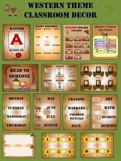 Complete Classroom Starter Set WESTERN. 81 PAGES IN ALL!!! Western theme décor set. Alphabet posters, reward coupons, jobs chart, word wall, calendar, labels, and more...