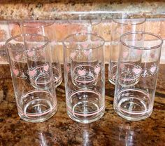 Vintage Corelle Coordinates FOREVER YOURS 6 Piece Beverage Glass Set - Pink Hearts Pattern - Retro Glassware by CottonTopVintage on Etsy