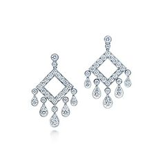 Tiffany Legacy Collection® open square drop earrings with diamonds in platinum.