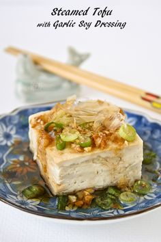 Steamed Tofu with Garlic Soy Dressing - a healthy delicious side dish to go with rice. Can be prepared in under 15 minutes in the microwave. | Food to gladden the heart at RotiNRice.com #RotiNRice