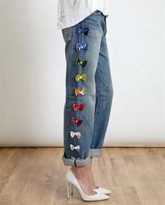 TU ES MON Tresor Velvet Coloured BOW Boyfriend Jeans Exclusive TO UK | eBay