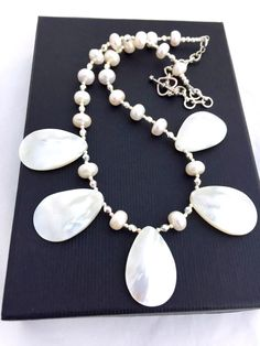 Mother of Pearl Teardrop Necklace, Statement Jewelry, Real Pearl Necklace, Boho Fringe Jewellery, Ivory White Pearl Mermaid Necklace by PreciousHCJewellery on Etsy