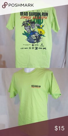 "Zombie apocalypse run green medium t shirt Good condition.  Measures 20"" across chest and 29"" long from top mid shoulder to bottom hem Shirts Tees - Short Sleeve"
