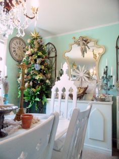 Christmas 2013! For more inspiration like this, check out Mikey Fuller at www.ShabbyFrenchCottage.com. Christmas Décor, Christmas Time Is Here, Christmas Decorations, Table Decorations, French Cottage, Shabby, Check, Inspiration, Furniture