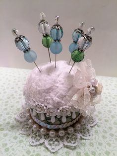 Pin Cushion, Shabby Chic, Decorative Stick Pins, Adorable gift idea!