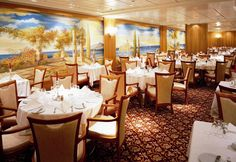Deck 5: Sinfonia Restaurant (650 seats) Costa Victoria, Deck, Restaurant, Table Decorations, Beautiful, Home Decor, Decoration Home, Room Decor, Front Porches