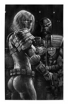 2000 ADs JUDGE ANDERSON AND JUDGE DREDD Comic Art Auction your comics on http://www.comicbazaar.co.uk