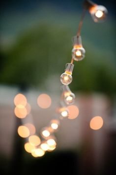 A backyard dressed with bubble lights.
