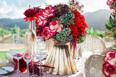 Lush Floral Arrangement in Gold Vase    Photography: Jenny Quicksall Photography   Read More:  http://www.insideweddings.com/weddings/romantic-wedding-shoot-for-valentines-day-at-california-vineyard/751/