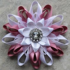 Bridal Hair Clip Pink and White Flower Clip Wedding Hair Flower Piece Wedding Hair Accessories Flower Hair Clip Bridesmaid Hair Piece