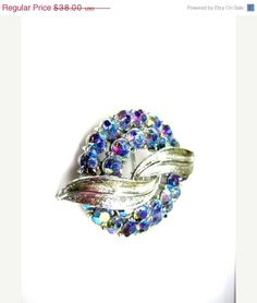 AB Rhinestone Brooch 1950s Vintage Jewelry by OurBoudoir on Etsy, $34.20