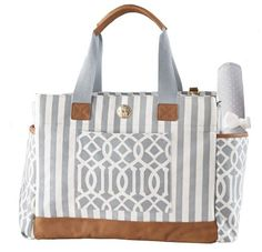 Mud Pie Bigger Bundle Diaper Bag, Gray Large, carry all bag features roomy interior and exterior pockets, key finder clip and matching changing pad. Leather Diaper Bags, Carry All Bag, Mud Pie, Baby Time, Baby Accessories, Canvas Leather, Baby Gear, Michael Kors, Tote Bag