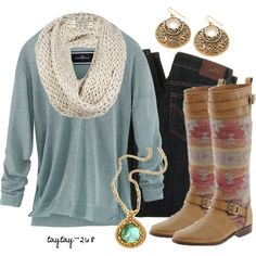 Blue long sleeve jeans tribal print boots white or cream knitted scarf. Winter outfit. Clothes. love it.