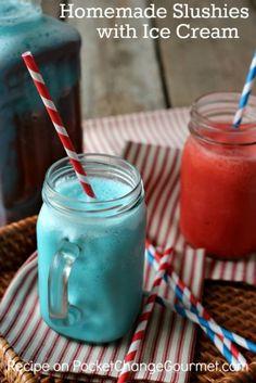 Homemade Slushies with Ice Cream – Pocket Change Gourmet (slushy alcohol drinks kool aid) Kid Drinks, Frozen Drinks, Non Alcoholic Drinks, Frozen Desserts, Frozen Treats, Summer Drinks, Beverages, Camping Desserts, Jello Desserts
