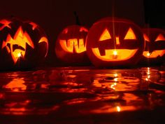 Pumpkins with spooky faces carved into them, glowing everywhere.