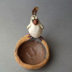 Goofy White Bird on Nest Sculptural Ceramic Dish https://www.etsy.com/listing/192722610/goofy-white-bird-on-nest-sculptural?ref=shop_home_active_24