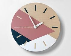 Scandi wall clock with golden strip Wooden minimalist wall decor Turquoise white and golden colors Large wall clock Large Wooden Clock, Wall Clock Wooden, Led Wall Clock, Wooden Wall Decor, Diy Clock, Wood Clocks, Clock Ideas, Wall Clock Nursery, Minimalist Wall Clocks