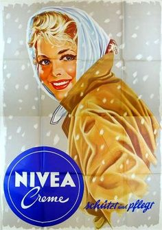 Nivea Creme moisturizer vintage Austrian advertisement by Jonny Parth, ca. Retro Vintage, Retro Ads, Vintage Labels, Vintage Designs, Vintage Advertising Posters, Vintage Travel Posters, Vintage Advertisements, Poster Vintage, Pop Art Fashion
